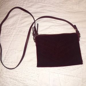 Velvet maroon crossbody bag